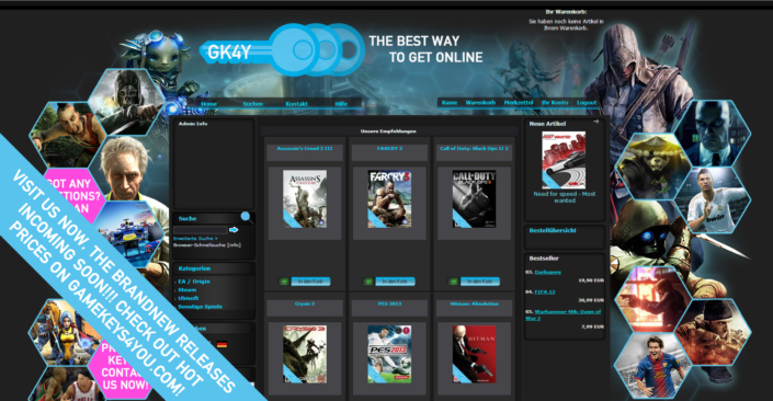 Webshop und Imageset eingerichtet / bearbeitet für GK4Y.com